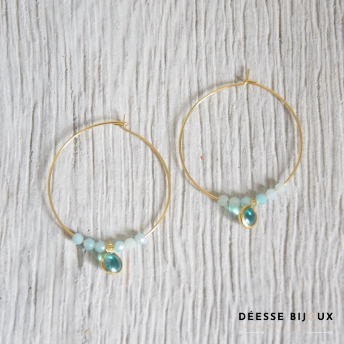 Boucles Larvik Amazonite